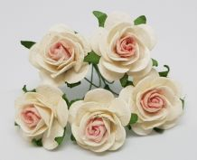 BABY PINK CENTER WHITE ROSES (2.5 cm) Mulberry Paper Roses (Previously known as 3.0 cm)